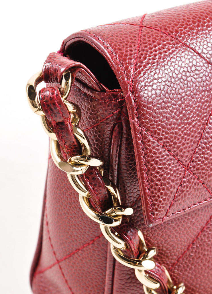 Chanel Burgundy Red and Gold Toned Caviar Leather Quilted Classic Flap Bag Detail 2