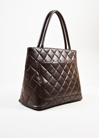 "äó¢íšíóChanel Chocolate Brown Lambskin 'CC' Quilted Chain Pull ""Medallion"" Tote Bag Sideview"