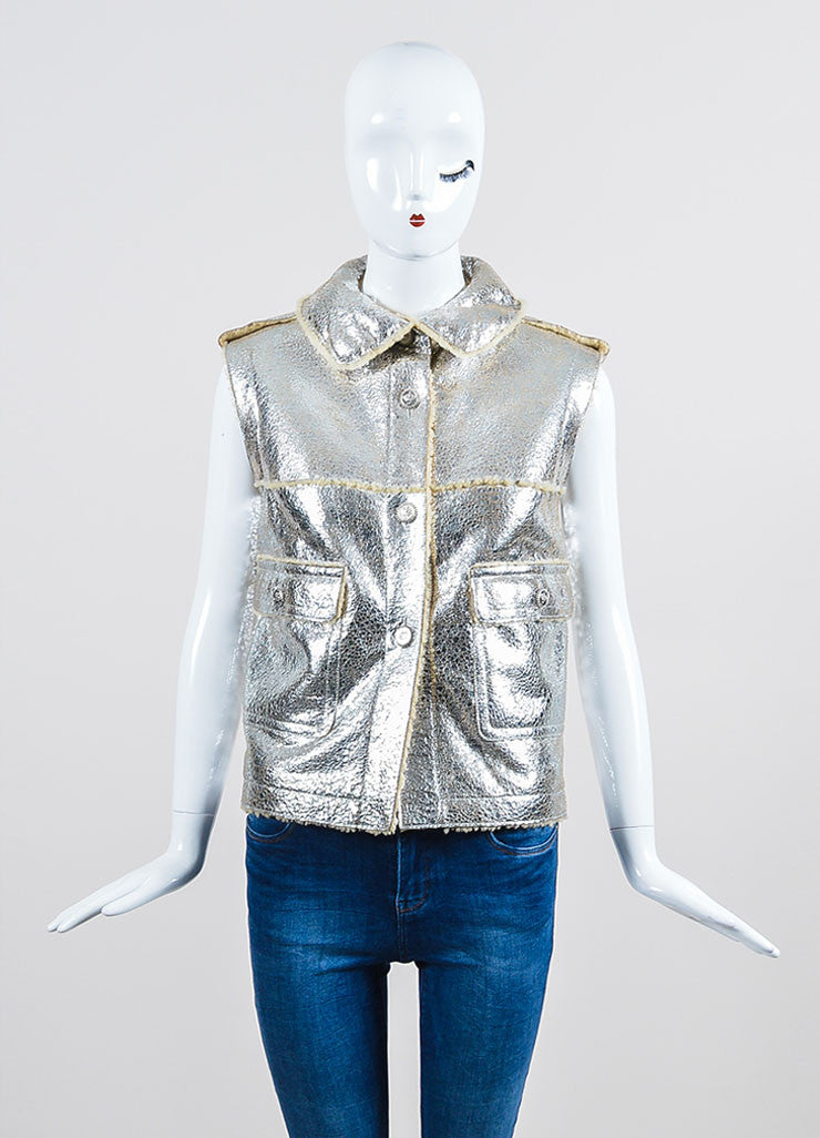 Metallic Silver Lambskin Leather Shearling Pocket Chanel Vest Frontview 2