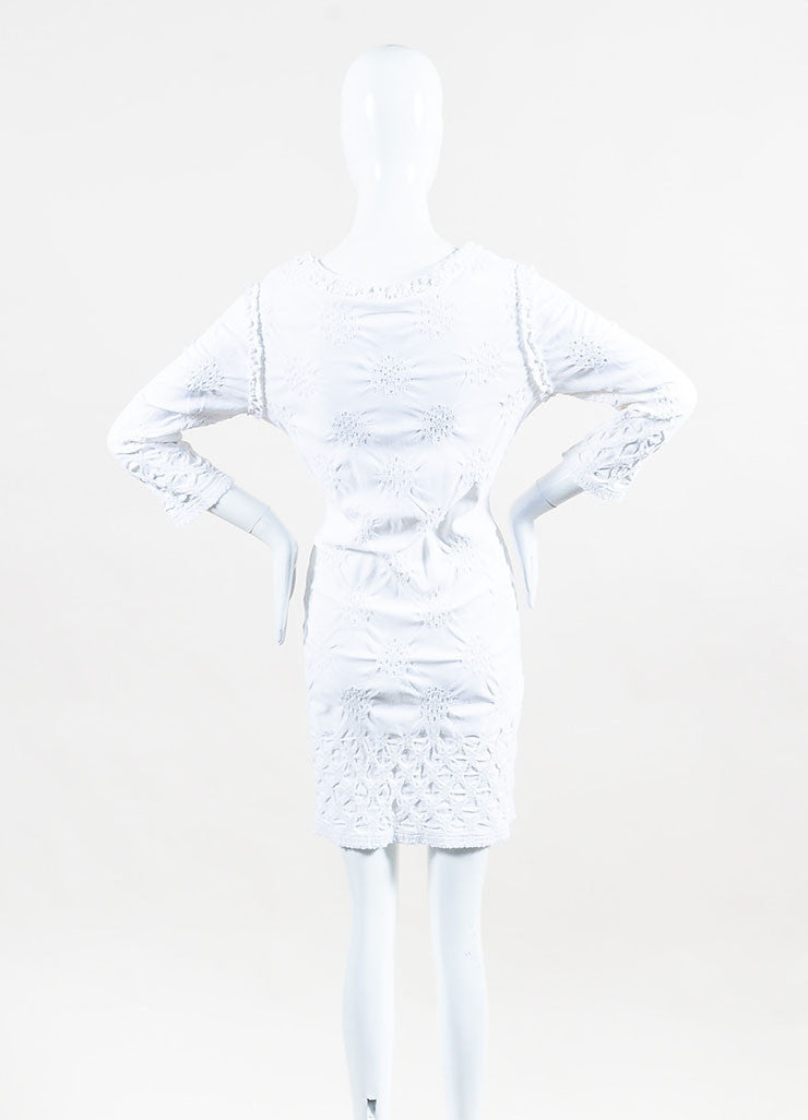 Chanel White Gathered Eyelet Detail Three Quarter Sleeve Stretch Dress Backvieww