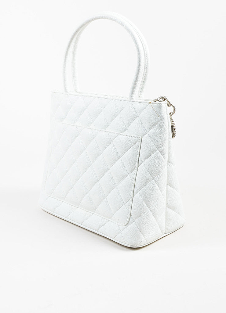 Chanel White Quilted Caviar Leather 'CC' Logo Silver Toned Medallion Tote Bag Sideview