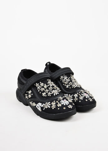 "Christian Dior Black Mesh Rhinestone Beaded Slip On ""Dior Fusion"" Sneakers Frontview"