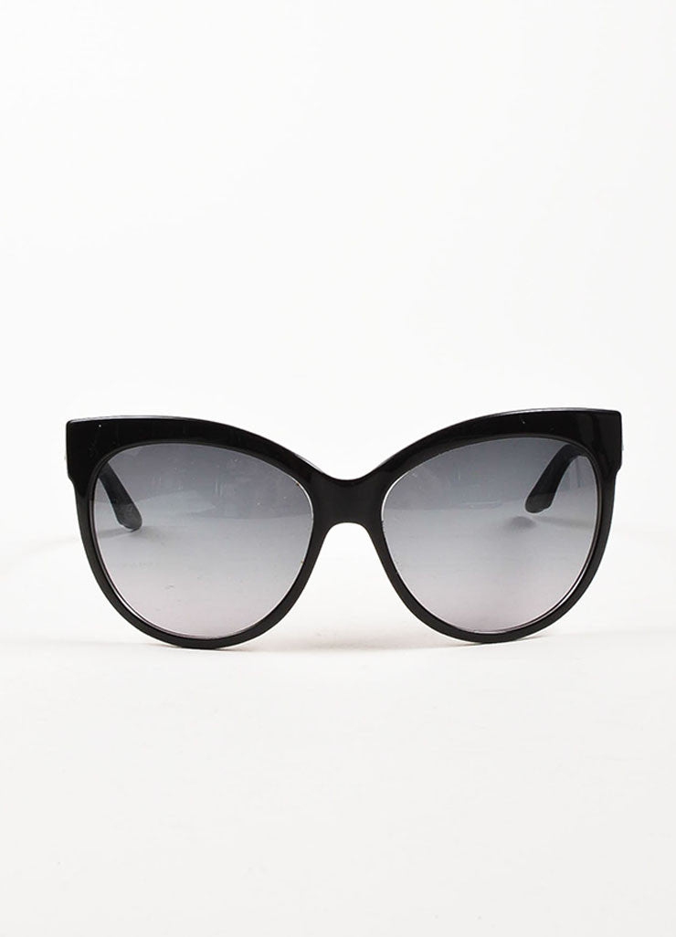 "Christian Dior Black Oval Cat Eye ""Dior Paname"" Sunglasses Frontview"