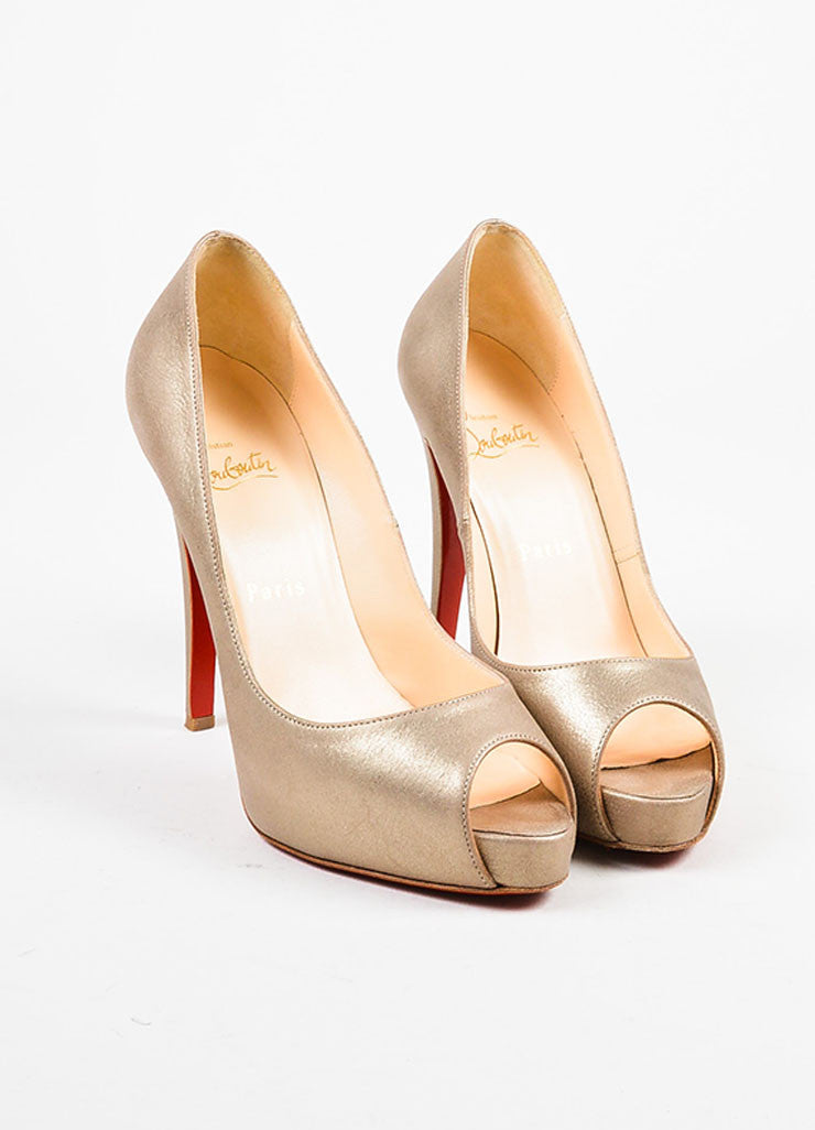 "Christian Louboutin Pale Gold Leather Peep Toe ""Very Prive"" Pumps Frontview"