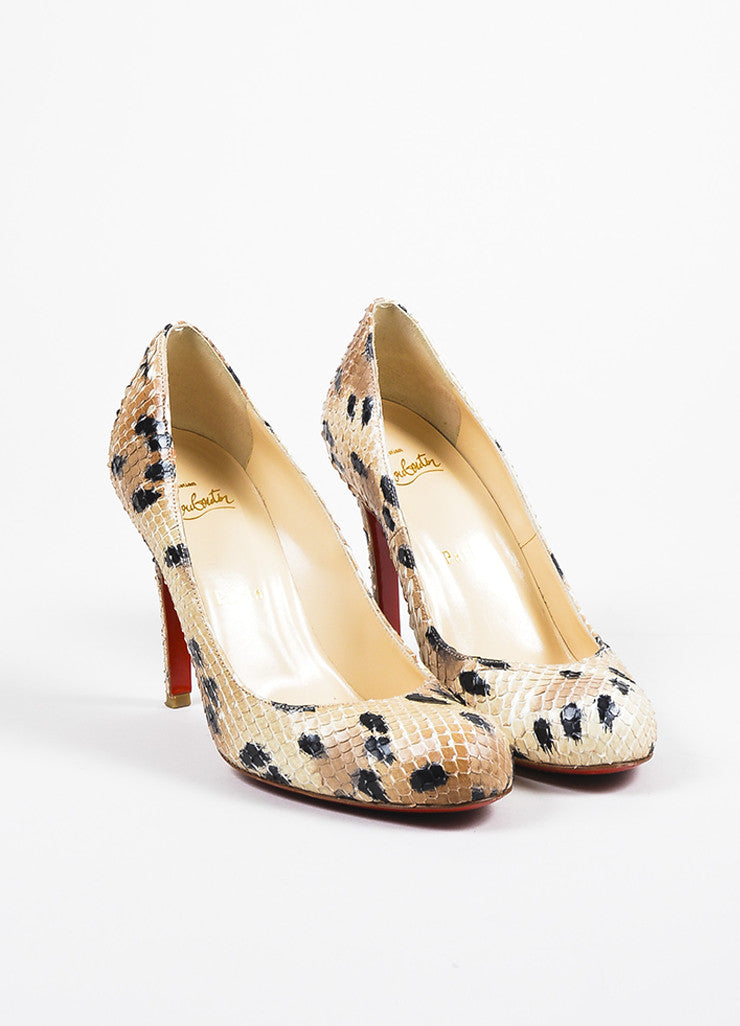"Christian Louboutin Beige and Black Spotted Python Round Toe ""Simple"" Pumps Frontview"