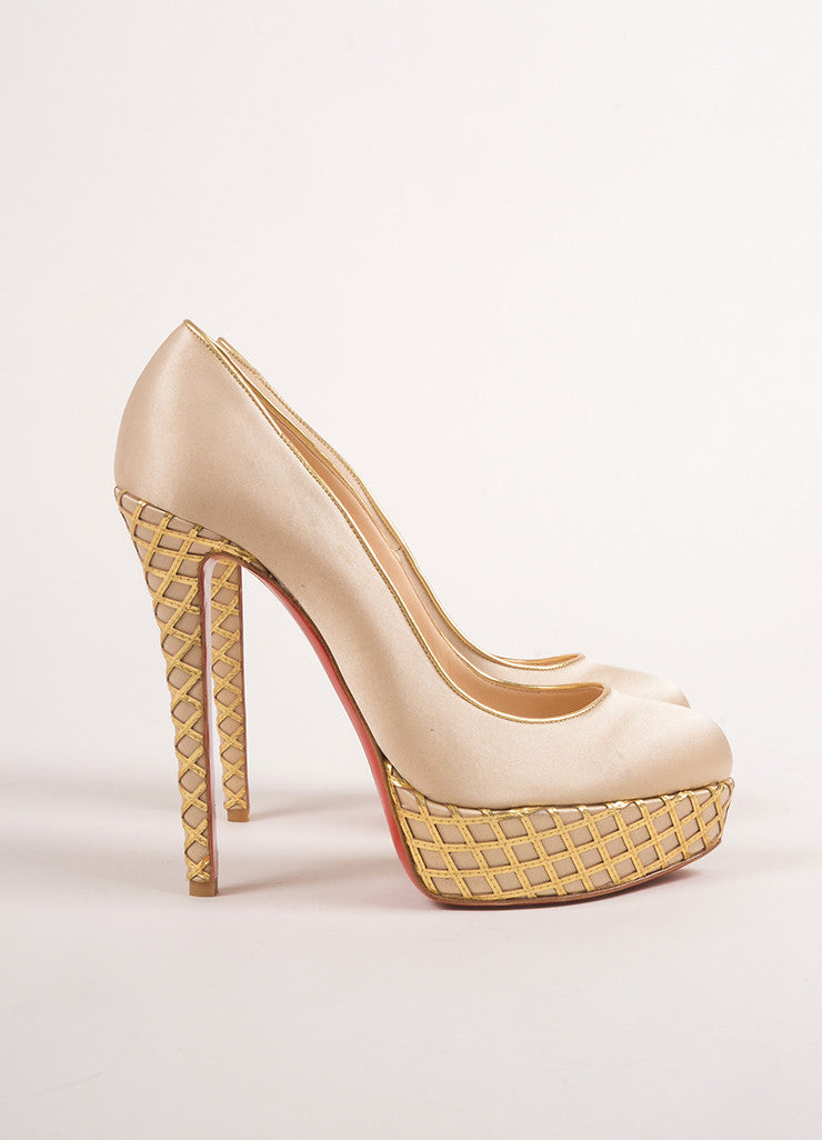 "Christian Louboutin Champagne and Gold Satin and Woven Leather Trim ""Bianca"" Pumps Sideview"