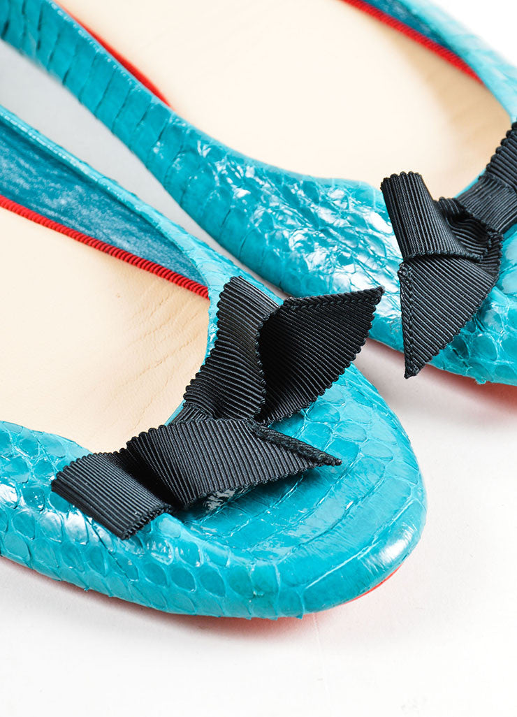 Christian Louboutin Teal and Black Riviera Watersnake Air Loubi Ballet Flats Detail
