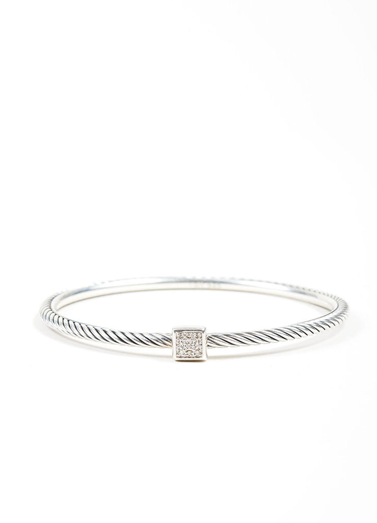 "Sterling Silver and Diamond Square ""Confetti"" Cable Bracelet"
