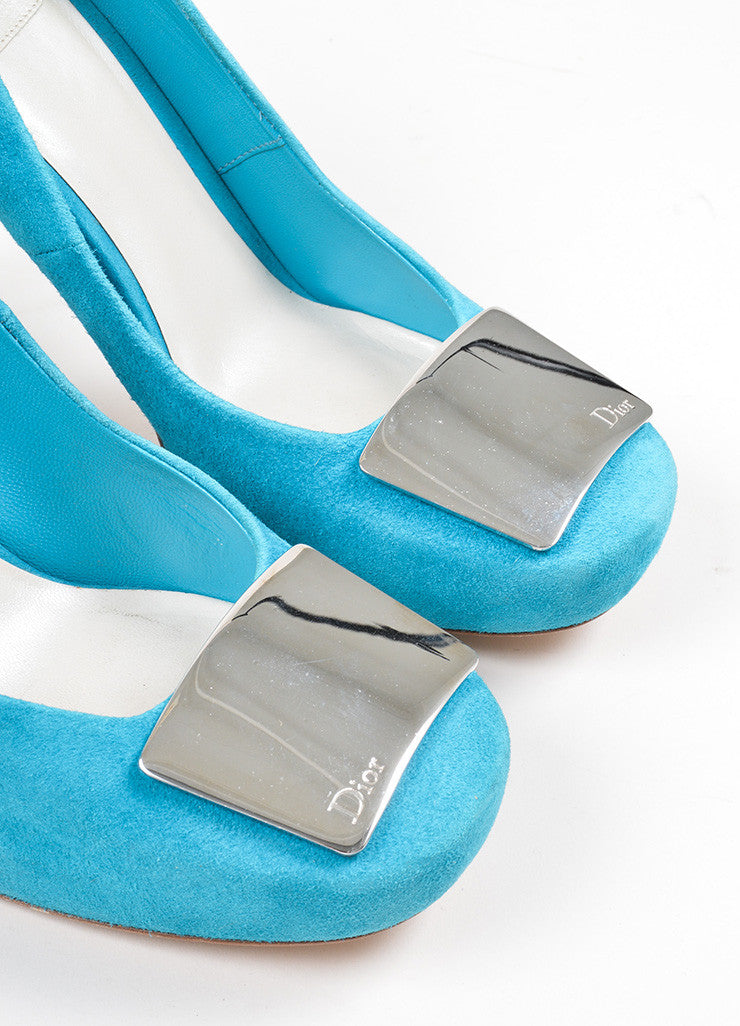 Teal Christian Dior Suede Silver Toned Panel Platform Pumps Detail