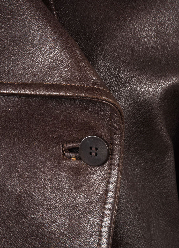 Donna Karan Dark Brown Leather Double Breasted Long Sleeve Jacket Detail
