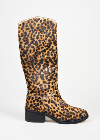 Tan and Brown Elyse Walker Pony Hair Leopard Knee High Cowboy Boots Sideview