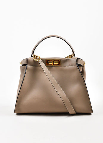 "Fendi Taupe Brown Leather Tortoiseshell Gold Toned ""Peekaboo"" Satchel Bag Frontview"
