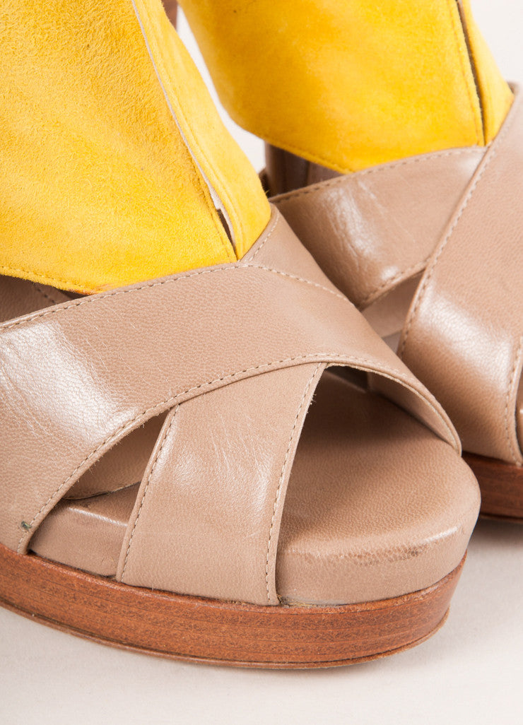 Fendi Yellow and Tan Suede Leather Cut Out Platform Sandals Detail