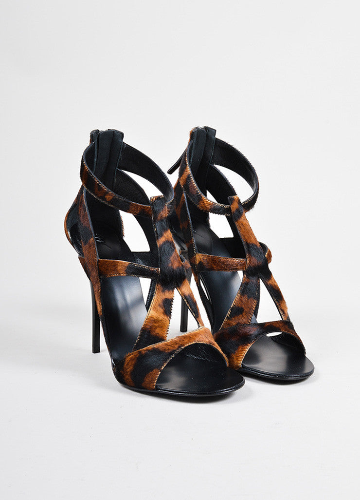 Giuseppe Zanotti Brown Pony Hair Leopard Print Strappy Heeled Sandals Frontview