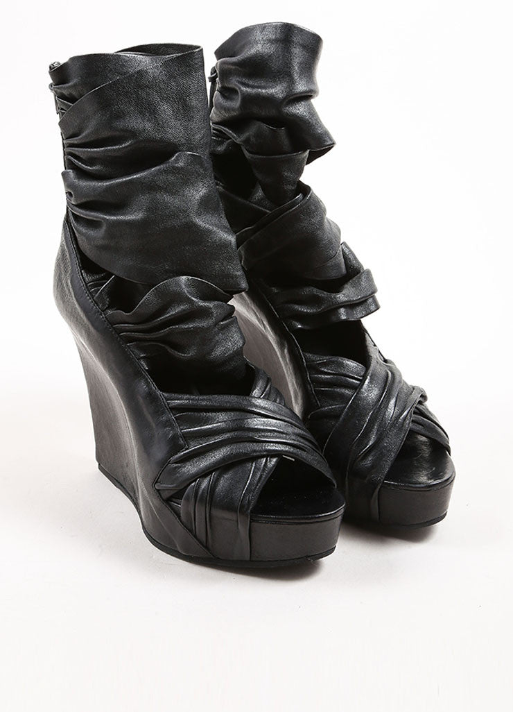 Givenchy Black Leather Wrapped Wedge Sandals Frontview