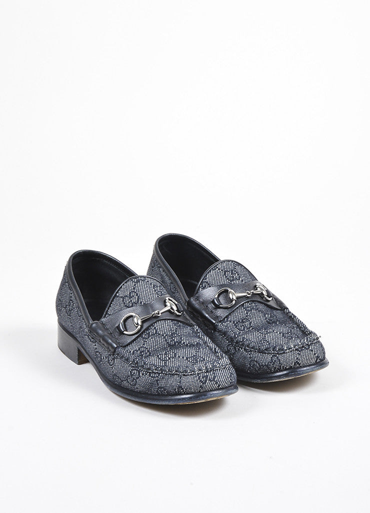 Gucci Black and White Denim and Leather 'GG' Monogram Horse Bit Loafers Frontview