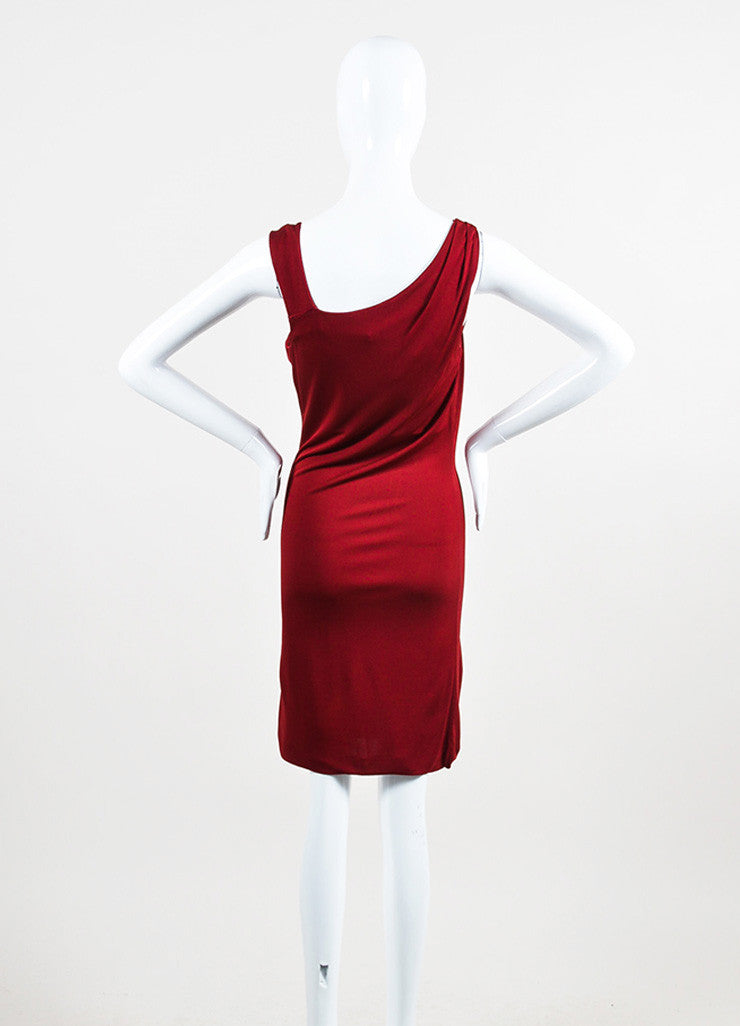 Gucci Maroon Red Jersey Gold Toned Horse Pin Sleeveless Dress Backview