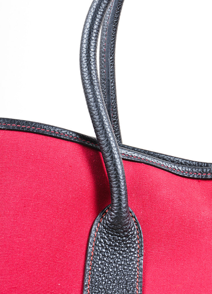 "Hermes Red and Black Canvas Negonda Leather ""Garden Party GM"" Tote Bag Detail 2"