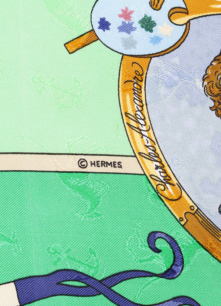 "Hermes Green and Gold ""Orbis Australis Dulces Exuviae"" Print Silk Scarf Brand"