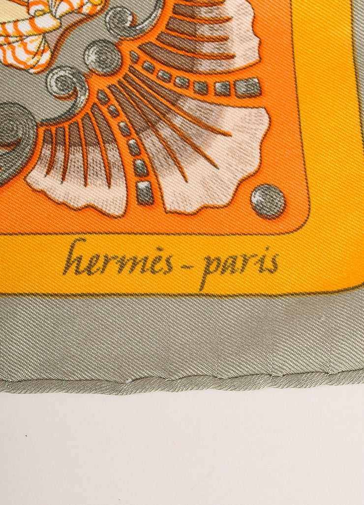 "Hermes Green and Orange Horse and Man Print ""Zingaro"" Silk Pocket Scarf Brand"