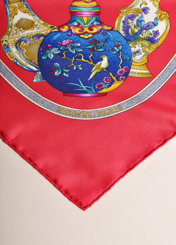Hermes Red, Blue, and Gold Silk Perfume Bottle Print Scarf Detail 2