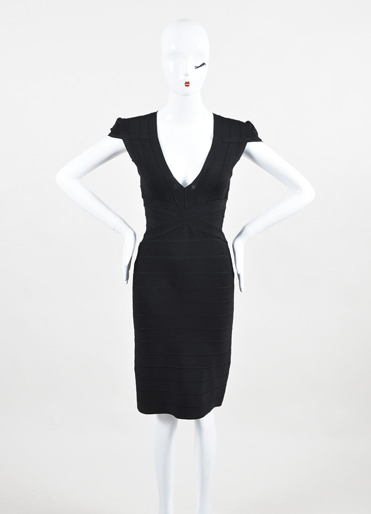 Herve Leger Black Stretch Bandage Cap Shoulder Sleeveless Bodycon Dress Frontview