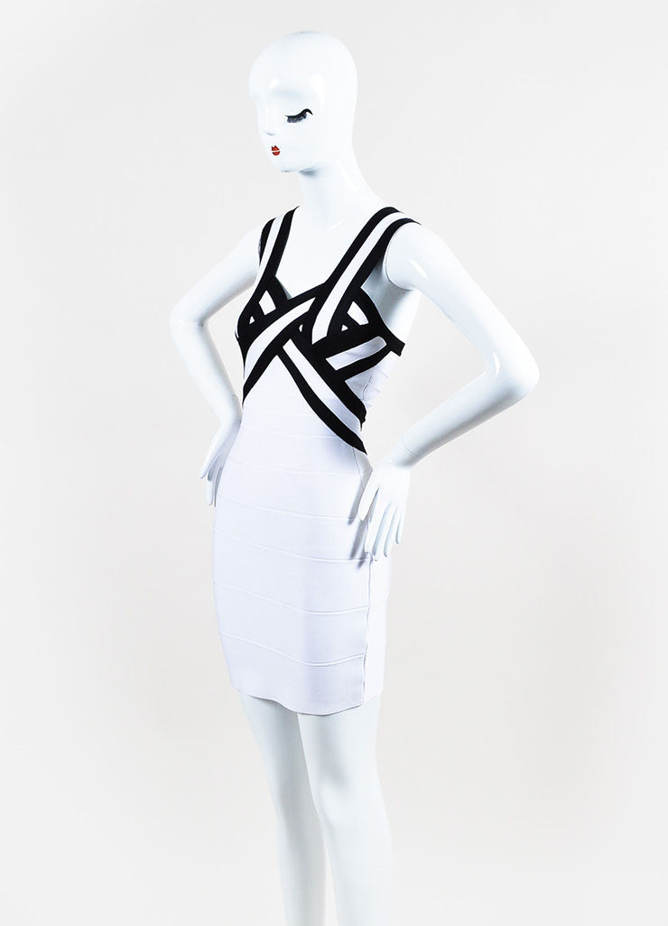 Herve Leger Black and White Striped Bodycon Bandage Dress Sideview