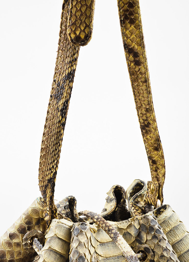 Hunting Season Cream and Grey Python Bucket Bag Detail