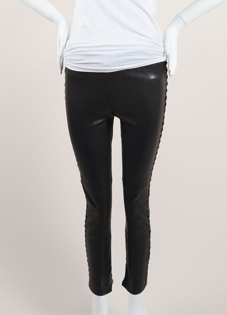 "Isabel Marant Black Lamb Leather Whipstitch ""Dayton"" Pants Frontview"