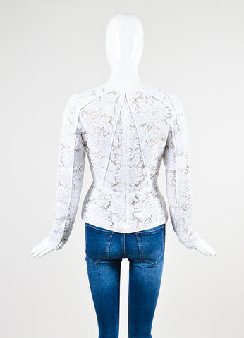 White and Nude J. Mendel Embroidered Floral Lace Long Sleeve Peplum Top Backview