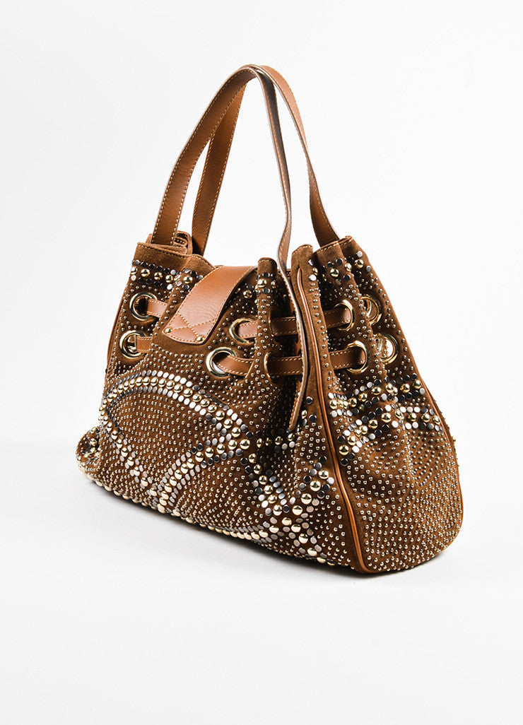 "Brown Jimmy Choo Suede Silver Tone Studded ""Ramona"" Hobo Bag Back"