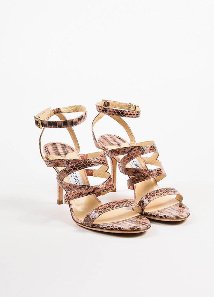 Jimmy Choo Pink and Black Snakeskin Open Toe Strappy Heeled Sandals Frontview