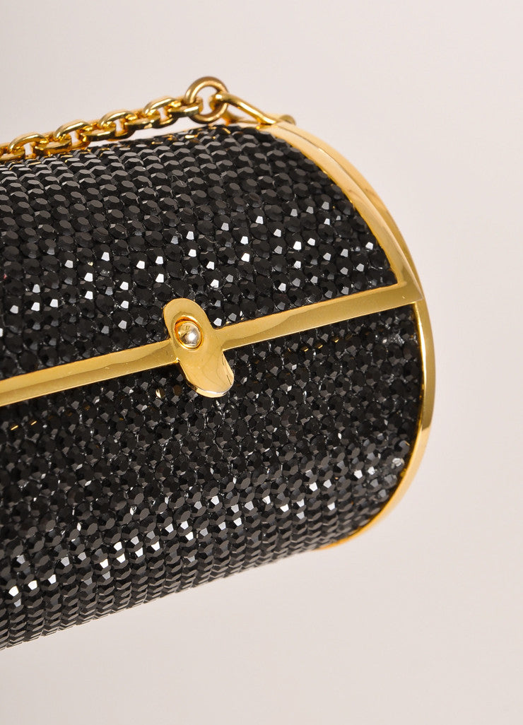 Judith Leiber Black and Gold Toned Crystal Rhinestone Mini Barrel Minaudiere Bag Detail