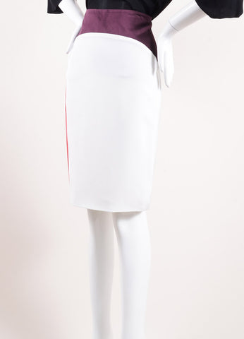 Karolina Zmarlak White, Purple, and Red Silk Pencil Skirt  Sideview