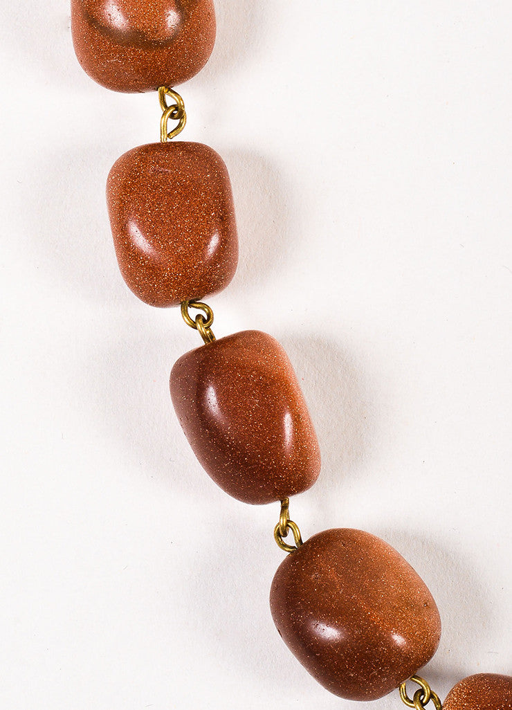 Lot of 2 Susanna Galanis Vintage Brass Brown Glitter Stone Charm Necklaces Detail