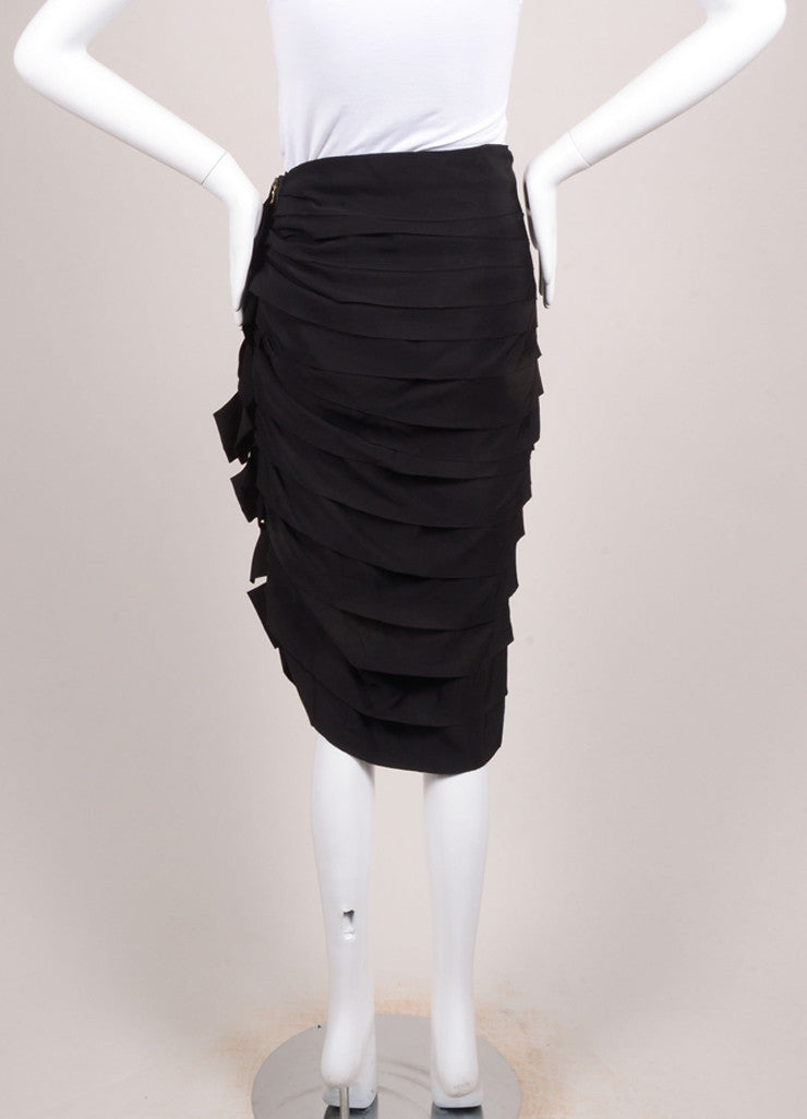 Lanvin New With Tags Black Tiered Ruffle Skirt Backview