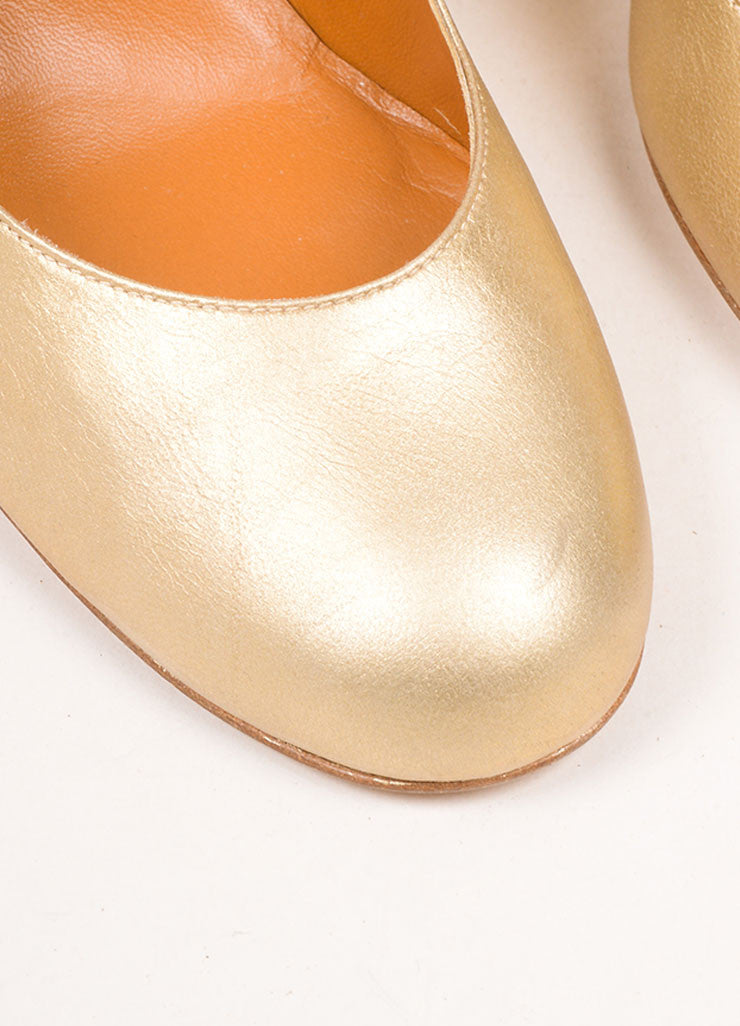 Lanvin Gold Leather Espadrille Wedges Detail