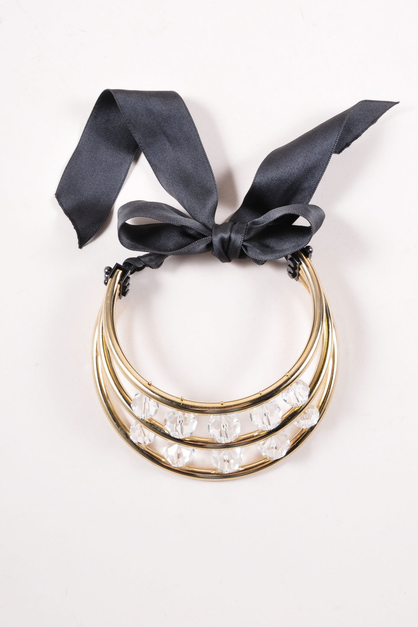 Lanvin Gold Toned and Black Crystal Bead Ribbon Tie Statement Collar Necklace Topview