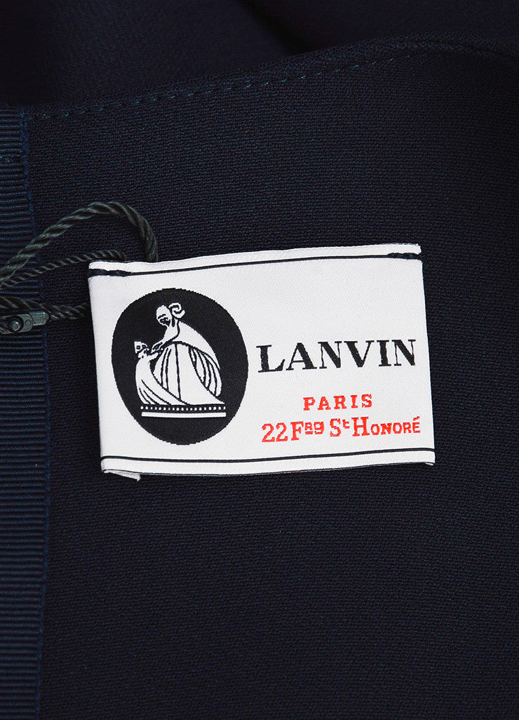 "Lanvin Navy Blue Long Sleeve V-Neck ""Uniform"" Dress Brand"