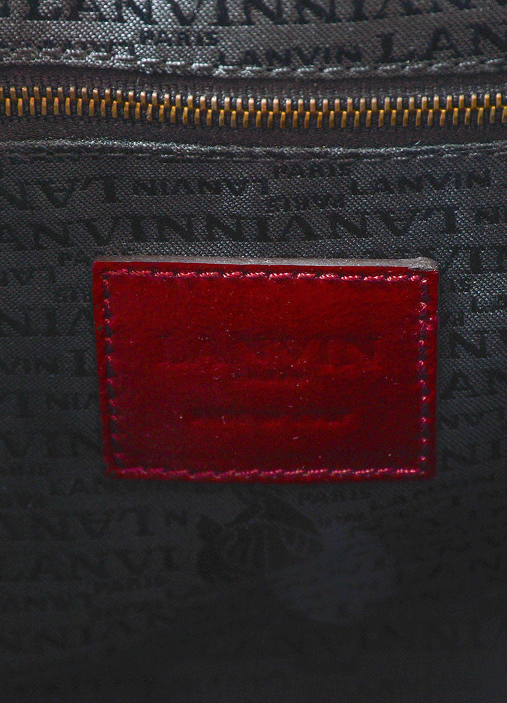 "Lanvin Red Patent Leather East West Ribbon Chain Strap Shoulder Flap ""Pise"" Bag Brand"