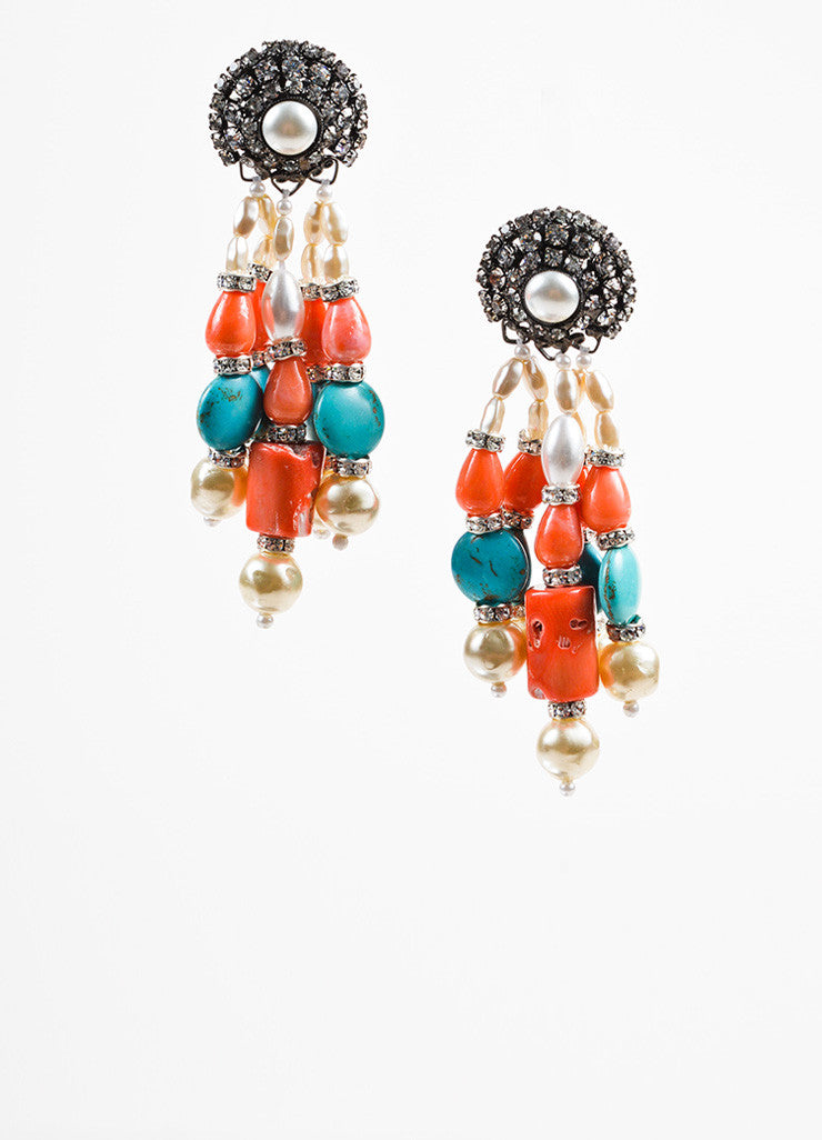 Lawrence Vrba Turquoise Coral Faux Pearl Crystal Beaded Drop Clip On Earrings frontview