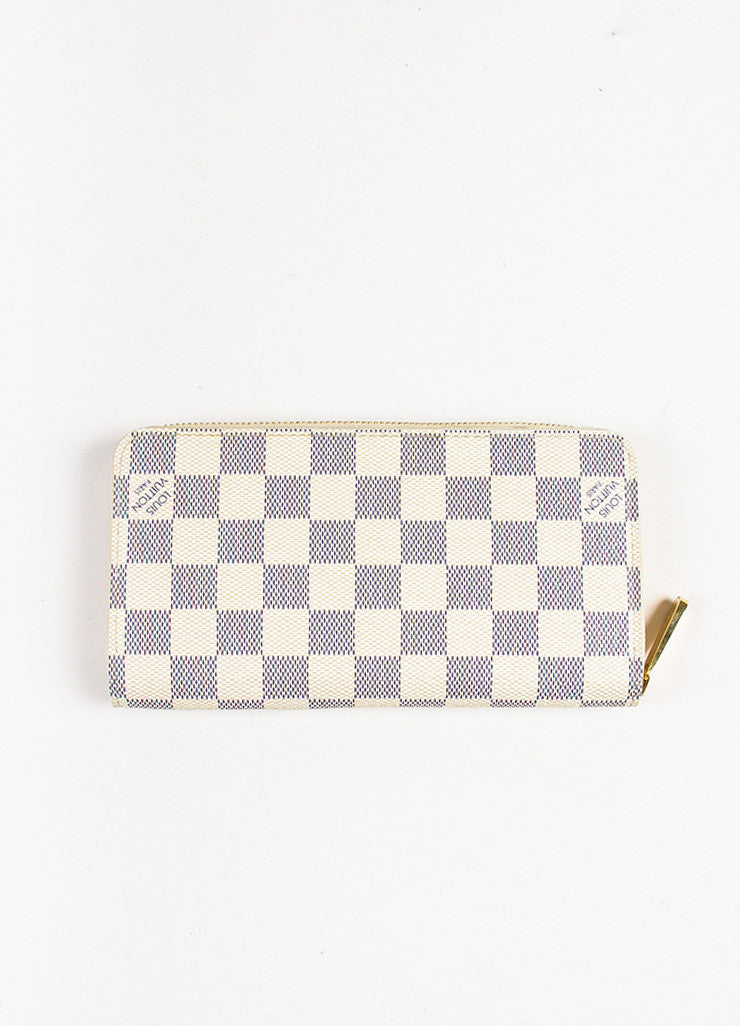 "Louis Vuitton Cream and Navy ""Damier Azur"" Printed Coated Canvas ""Zippy"" Wallet Backview"