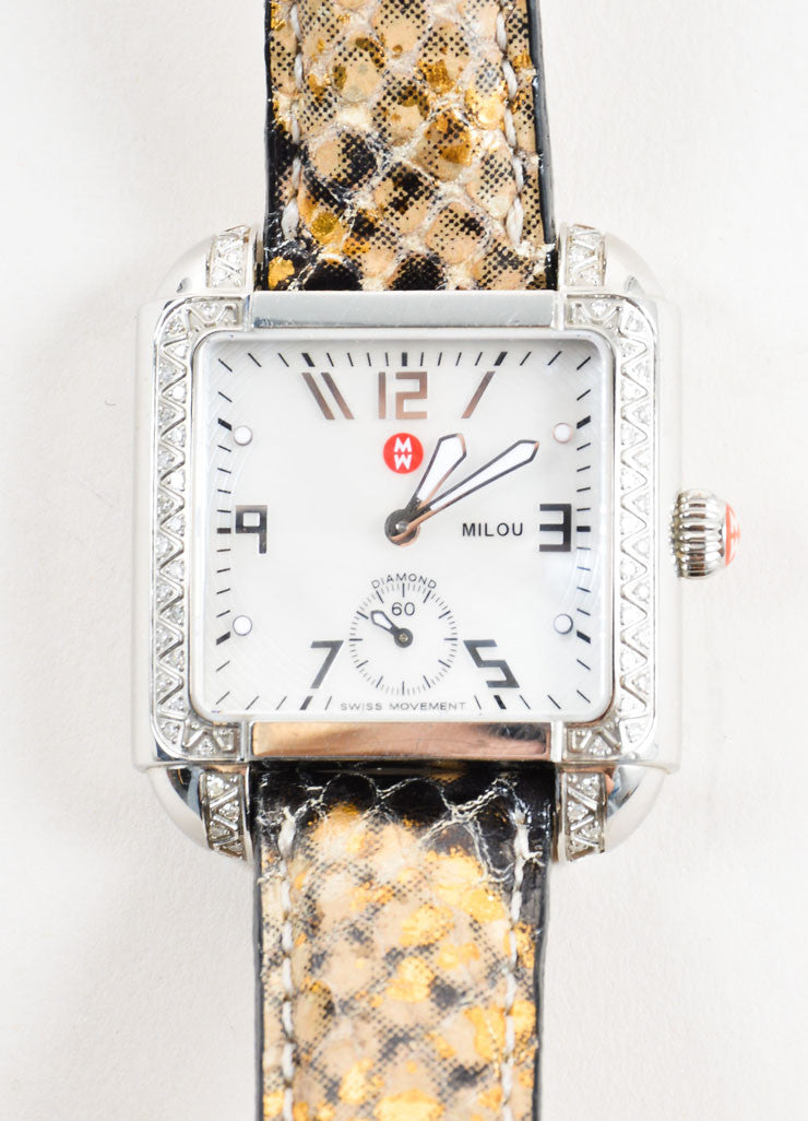 "Michele Silver Stainless Steel Diamond Pave Reptile Straps ""Milou"" Watch Detail"
