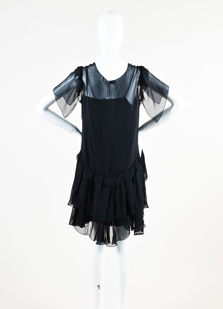Miu Miu Black Silk Sheer V-Neck Short Sleeve Ruffled Dress Backview