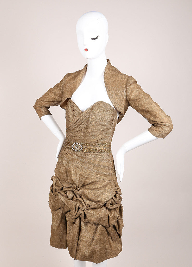 Monique Lhuillier Brown and Bronze Linen Ruched Strapless Dress and Crop Jacket Set Sideview