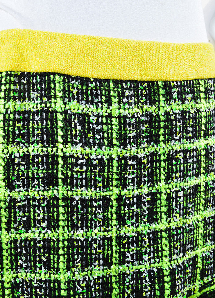Neon Yellow, Green and Black Moschino Cheap and Chic Tweed Skirt Detail