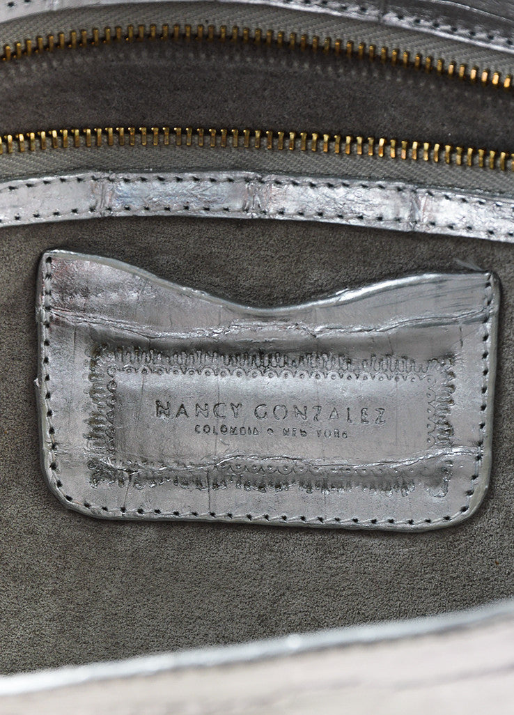 Nancy Gonzalez Silver and Gold Crocodile Leather Oversized Flat Clutch Bag Brand