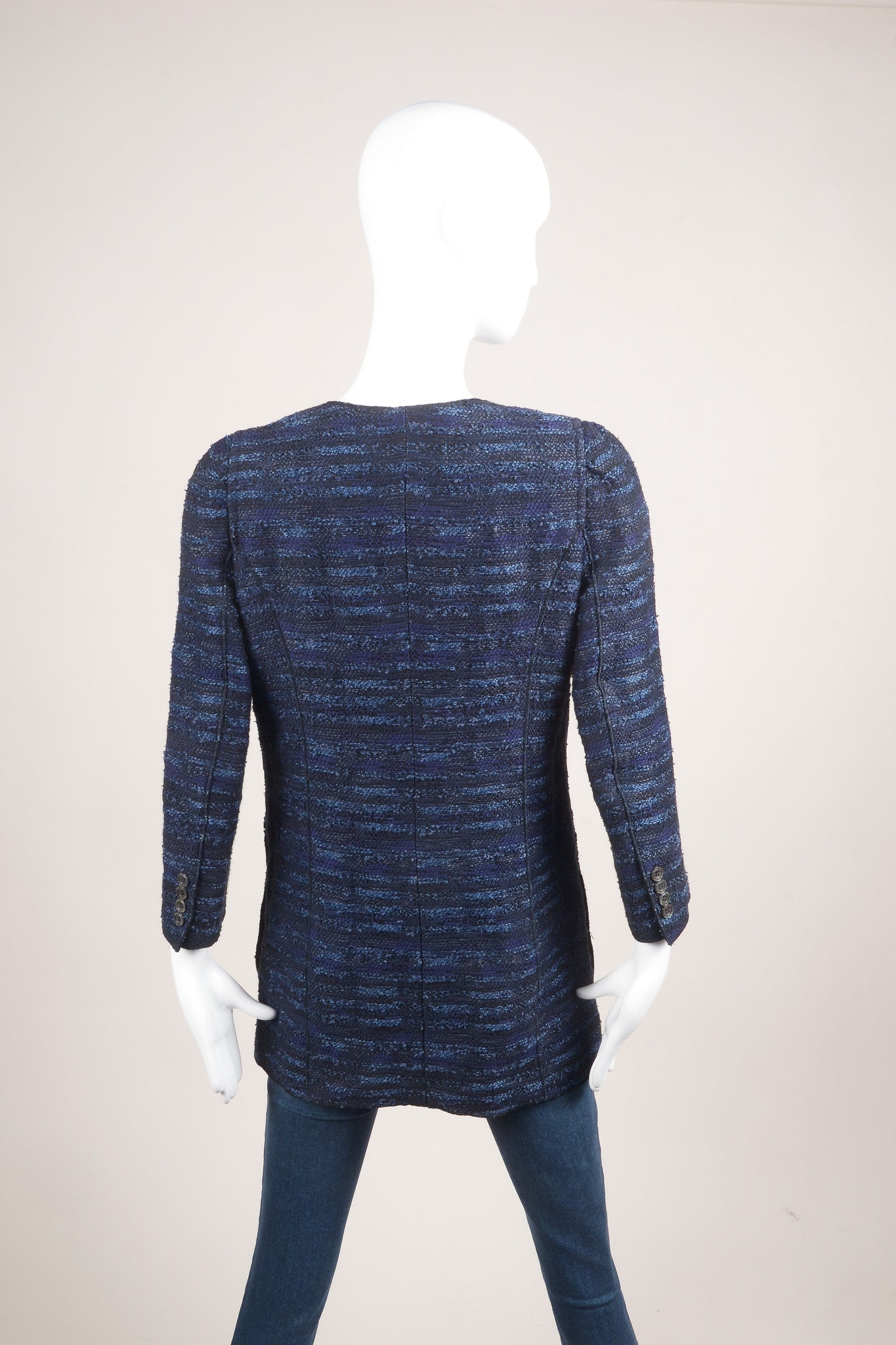 Nina Ricci Navy Blue and Black Woven Tweed Knit Long Sleeve Jacket Backview