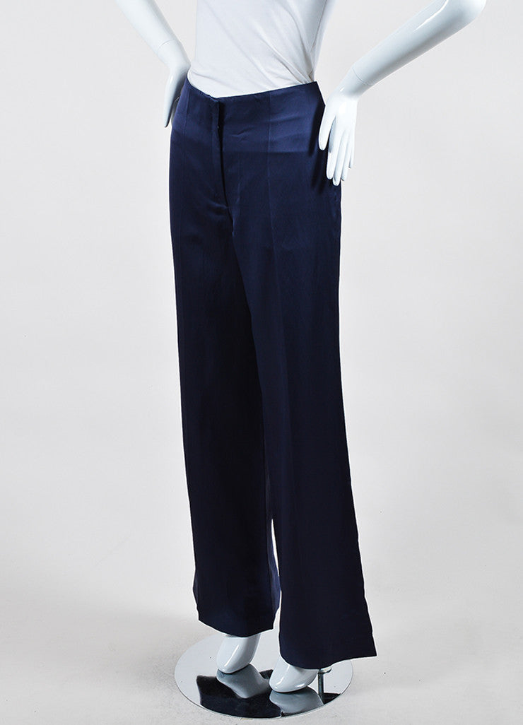 Navy Blue Nina Ricci Silk High Waist Wide Leg Trousers Sideview
