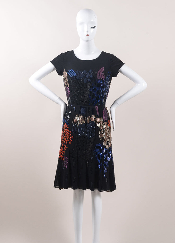 Oscar de la Renta Black and Multicolor Silk Embellished Cocktail Dress Frontview